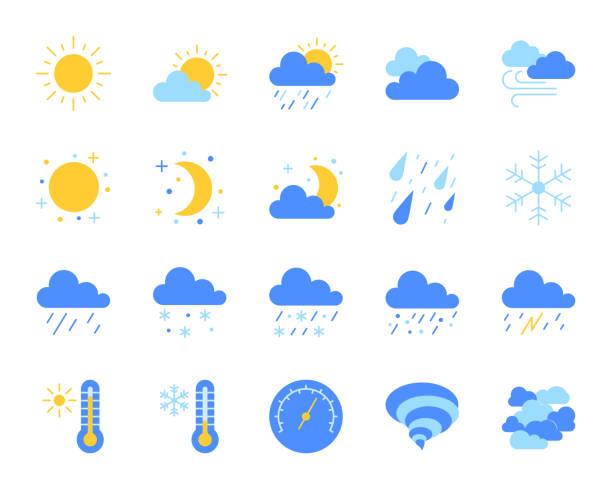 날씨 간단한 평면 컬러 아이콘 벡터 세트 - 날씨 stock illustrations