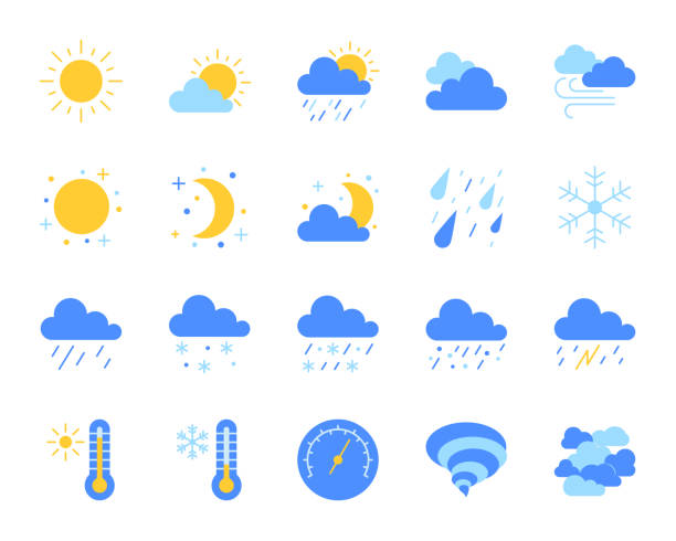 stockillustraties, clipart, cartoons en iconen met eenvoudige egale kleur weerpictogrammen vector set - regen zon