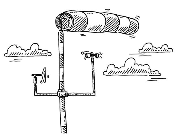 Weather Station Wind Measurement Drawing Hand-drawn vector drawing of a Weather Station for Wind Measurement. Black-and-White sketch on a transparent background (.eps-file). Included files are EPS (v10) and Hi-Res JPG. environment stock illustrations