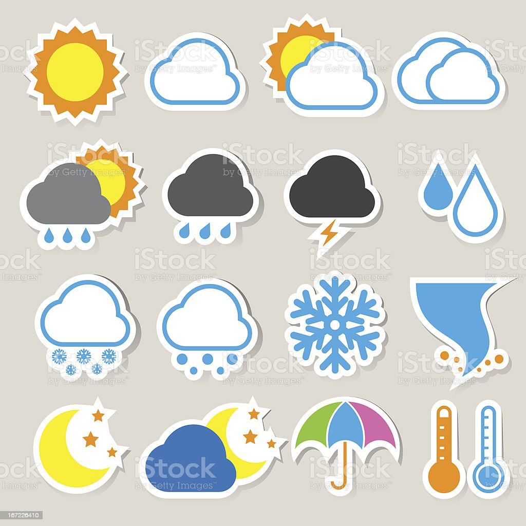 Weather sticker icons set. royalty-free stock vector art