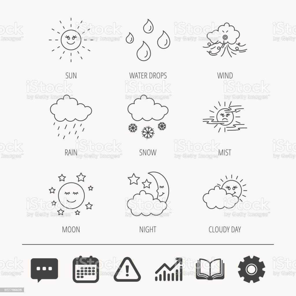 Weather, sun and rain icons. Moon night, clouds and mist linear...