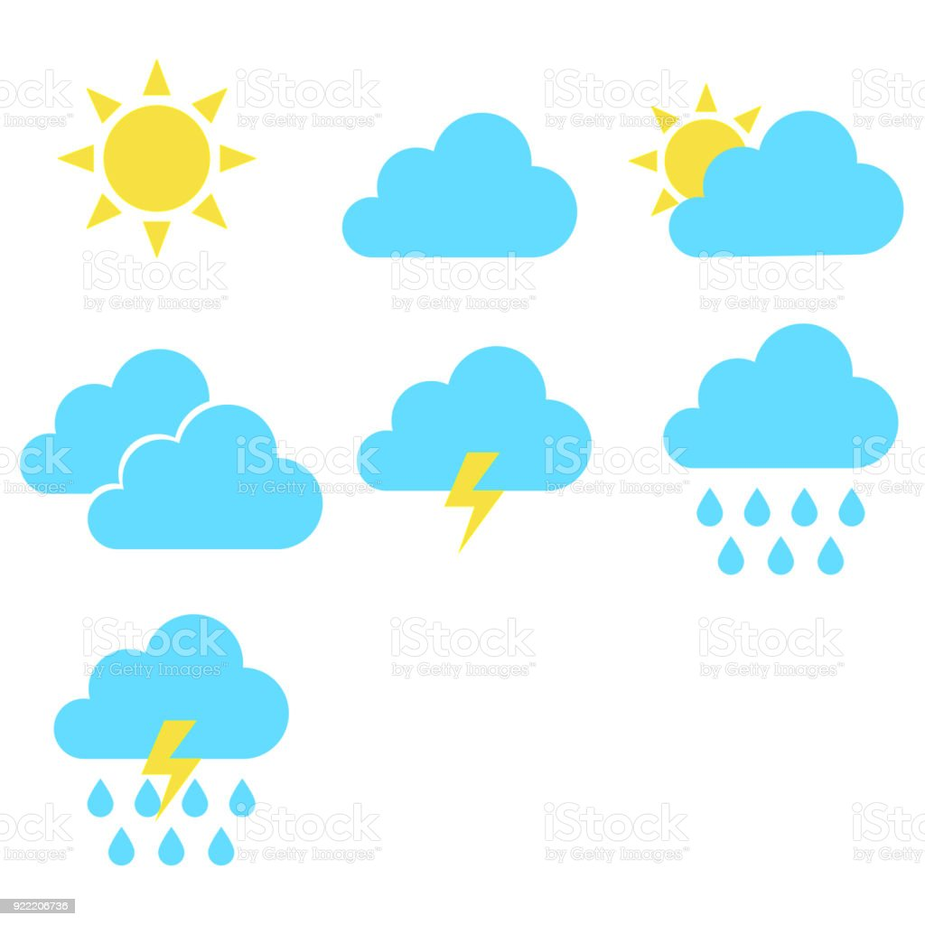 weather symbol set isolated vector vector art illustration