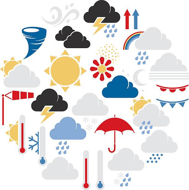 illustrazioni stock, clip art, cartoni animati e icone di tendenza di set di simboli di meteo - grandine vector