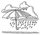 Hand-drawn vector drawing of a Weather Symbol with an Umbrella and Rainy Clouds. Black-and-White sketch on a transparent background (.eps-file). Included files are EPS (v10) and Hi-Res JPG.