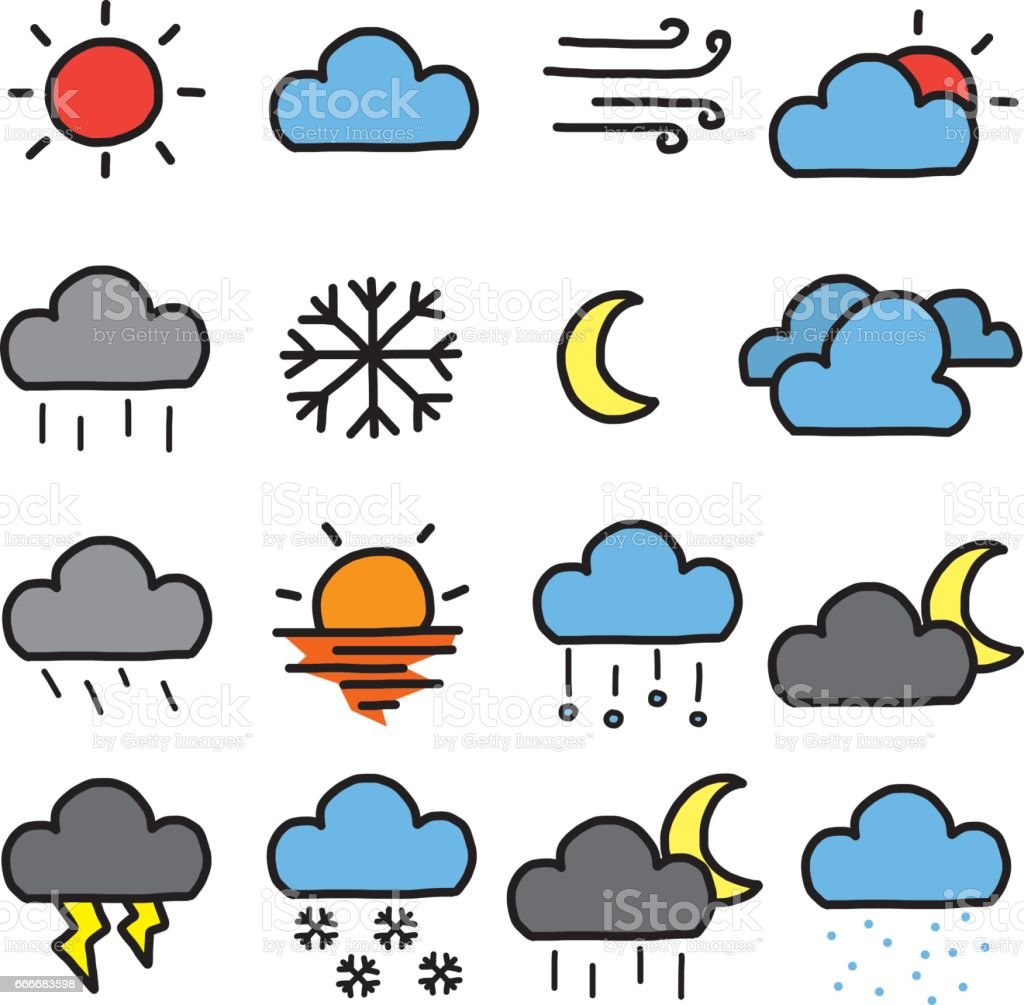 Weather Symbols Icons Set Stock Vector Art More Images Of Art