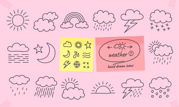wettersymbole auf farbige notizen. - schneeflocke sonnenaufgang stock-grafiken, -clipart, -cartoons und -symbole