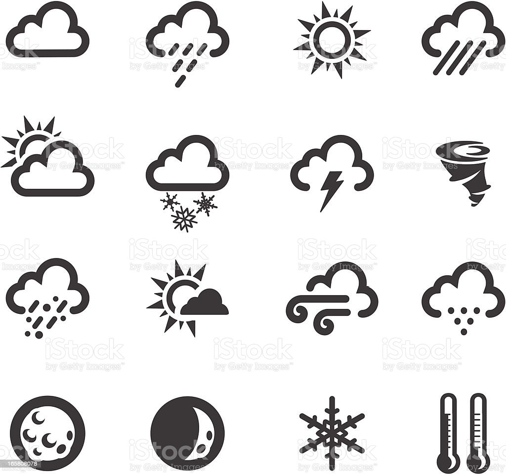 Weather symbols stock vector art more images of black color weather symbols royalty free weather symbols stock vector art amp more images of black buycottarizona Image collections