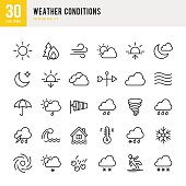 Weather set of 30 thin line vector icons.
