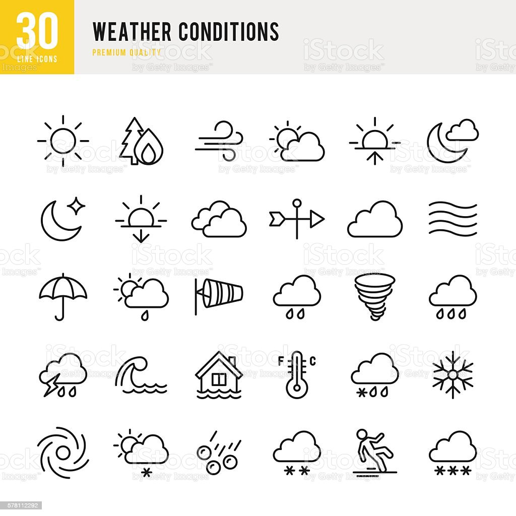 Weather - Thin Line Icon Set vector art illustration