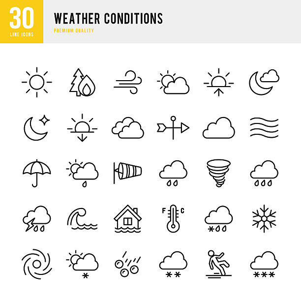 weather - thin line icon set - tidal wave stock illustrations, clip art, cartoons, & icons