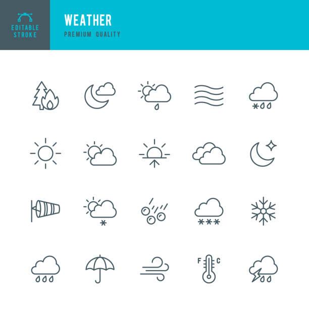 illustrazioni stock, clip art, cartoni animati e icone di tendenza di meteo - set di icone linea sottile - ice on fire