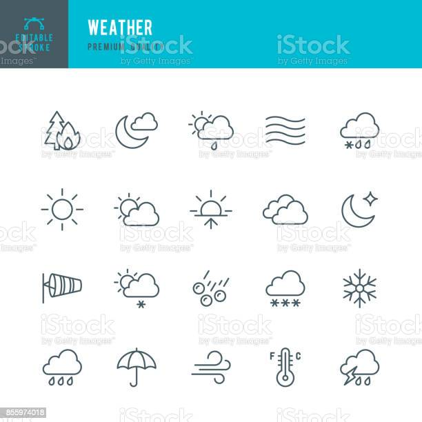 Set of Weather thin line vector icons.