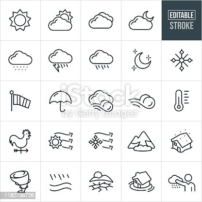 A set weather icons that include editable strokes or outlines using the EPS vector file. The icons include a sun, clouds, moon, snow showers, rain showers, lightning, snowflake, windsock, umbrella, wind, thermometer, weather vane, avalanche, blizzard, tornado, flood, drought and other weather related icons.