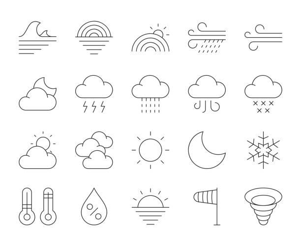 illustrazioni stock, clip art, cartoni animati e icone di tendenza di weather - thin line icons - grandine vector