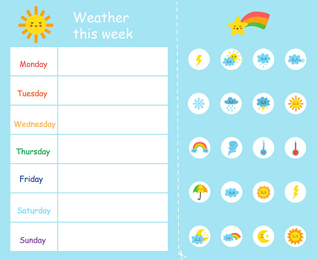 Weather this week template for kids. Weather chart.