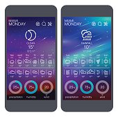 Weather app, User Interface and Icon set on smartphone.Mobile interface