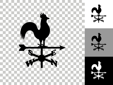 Weather Vane Icon on Checkerboard Transparent Background. This 100% royalty free vector illustration is featuring the icon on a checkerboard pattern transparent background. There are 3 additional color variations on the right..