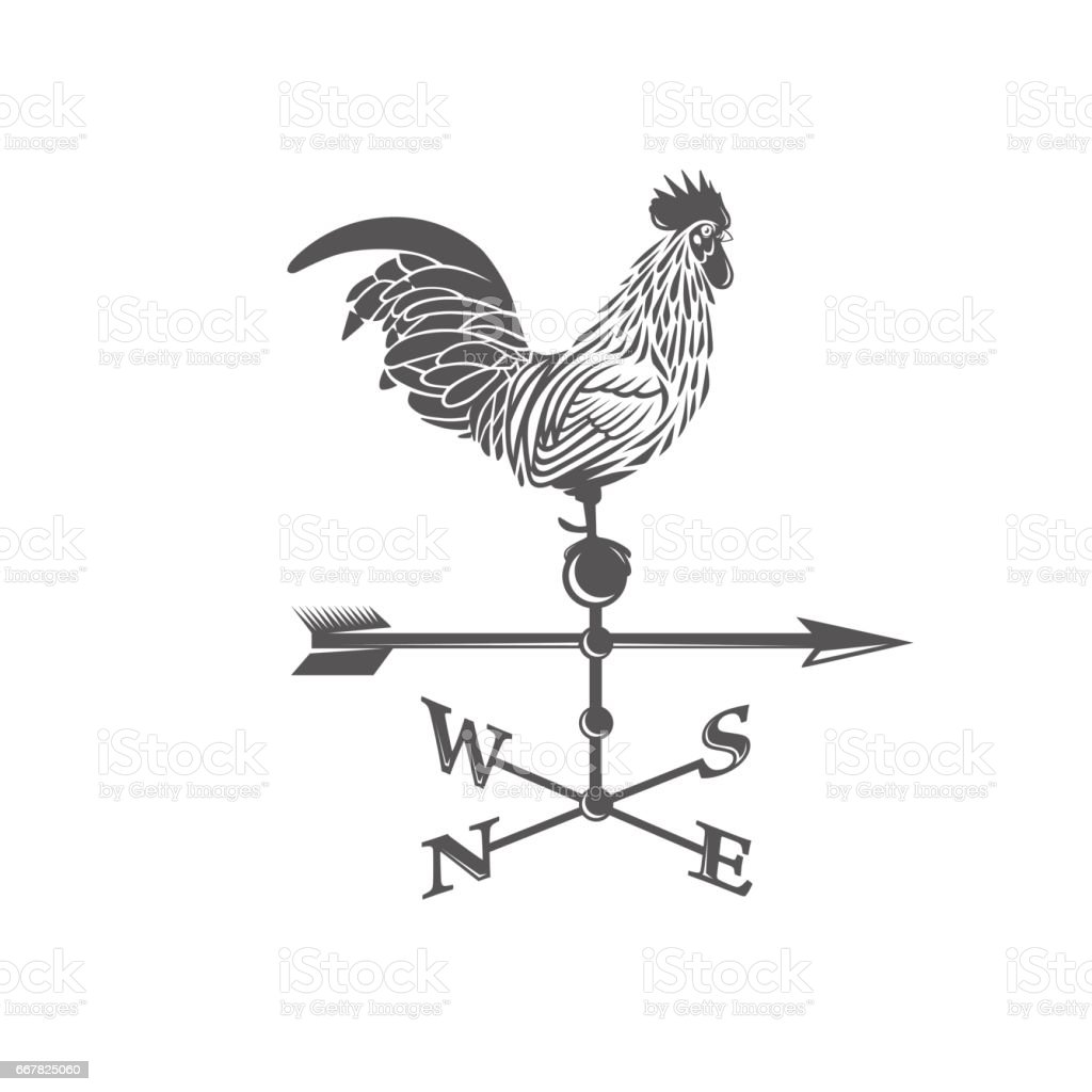 Weather vane. Rooster. vector art illustration