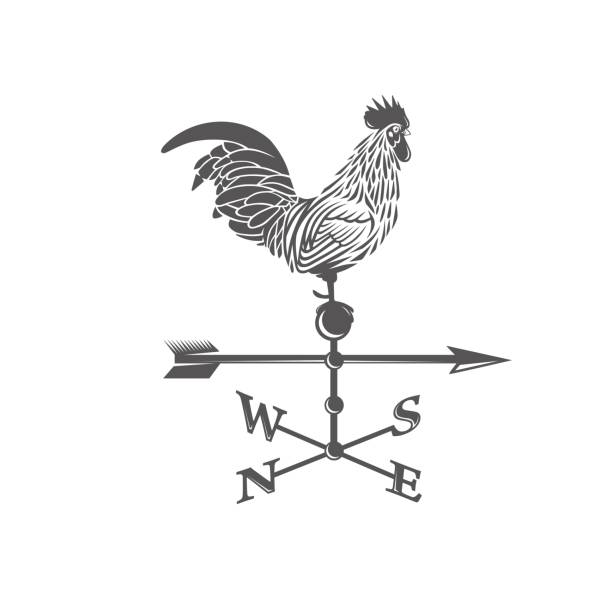 Weather vane. Rooster. Black and white vector objects rooster stock illustrations