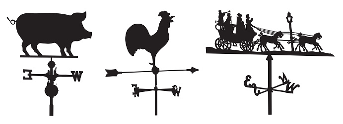Vector silhouettes of three weather vanes.