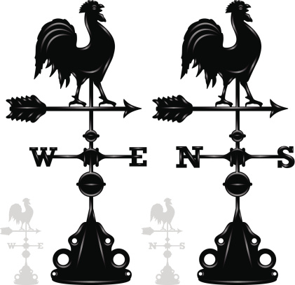 Weather vane rooster designs. EPS 10 file. Transparency used on highlight elements.