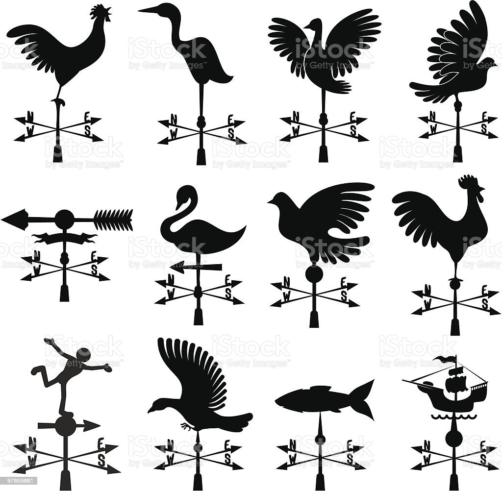 Weather vanes vector art illustration