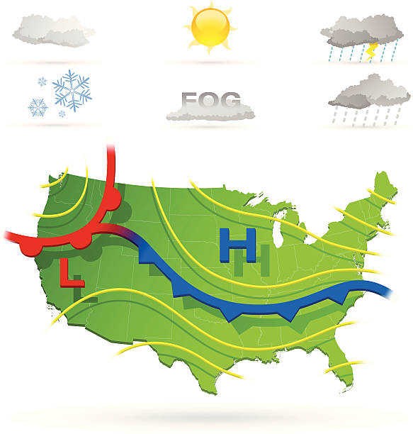 Weather Highly detailed weather map of the USA with weather icons. All elements separately grouped and can be easily changed. hailstorm stock illustrations