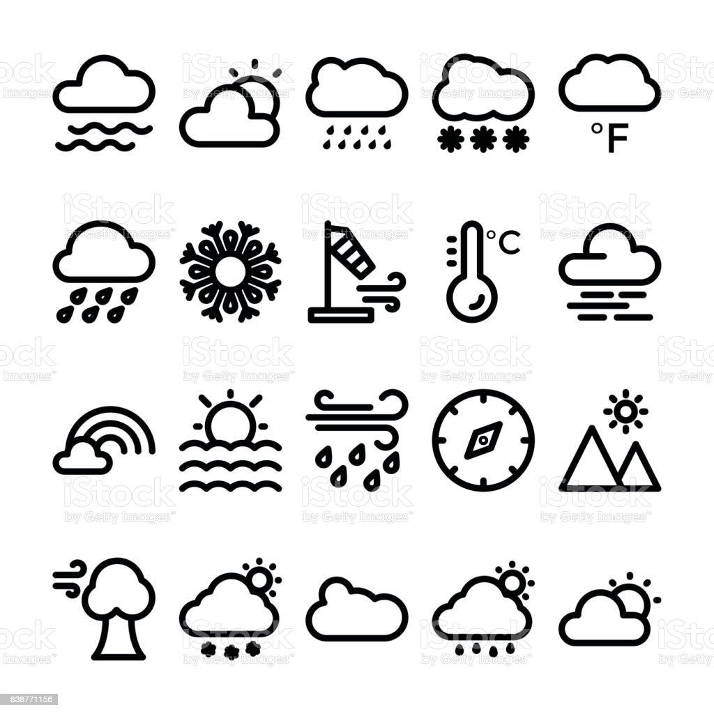Conjunto de ícones do tempo vetor linha 2 - ilustração de arte em vetor