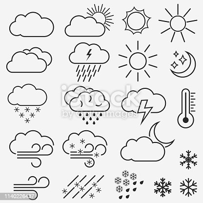 Weather vector line icons. Meteorology Symbols of the sun, clouds, snowflakes, wind and rain. Weather forecast simple pictograms pack. Vector