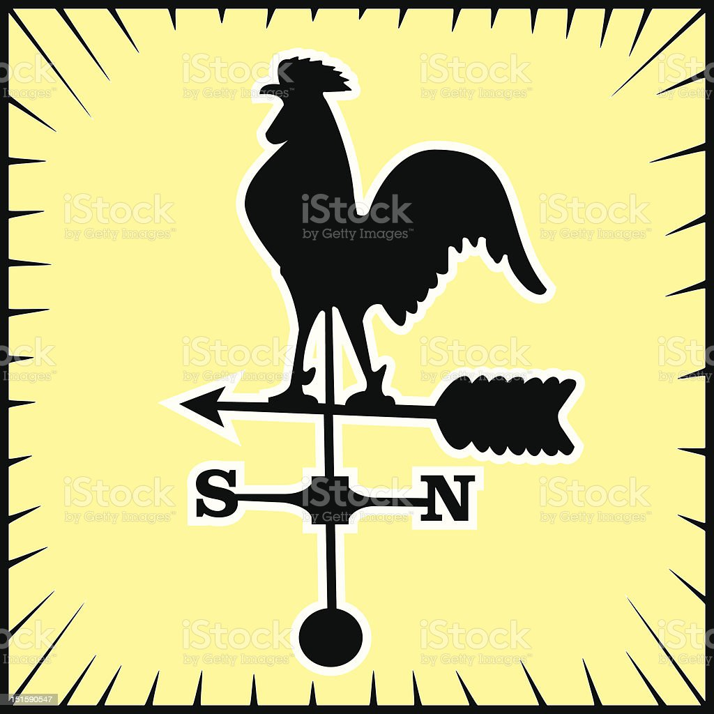 weather vein rooster vector art illustration