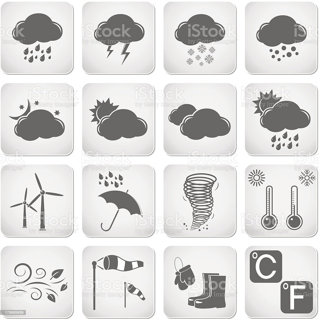 Weather Web Icons Set royalty-free stock vector art