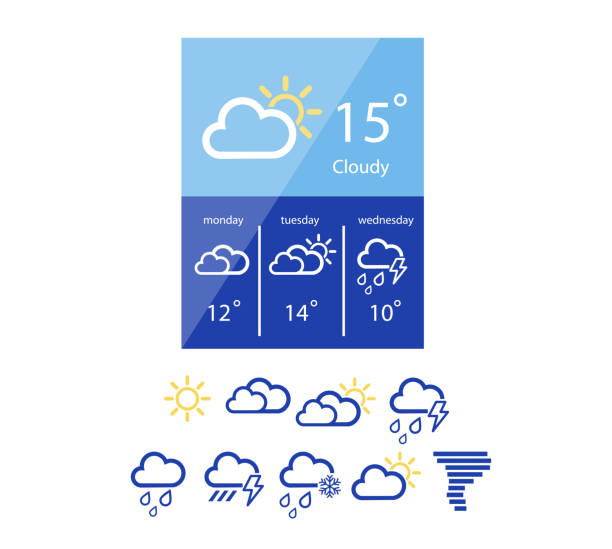 weather widget in flat style - weather stock illustrations, clip art, cartoons, & icons