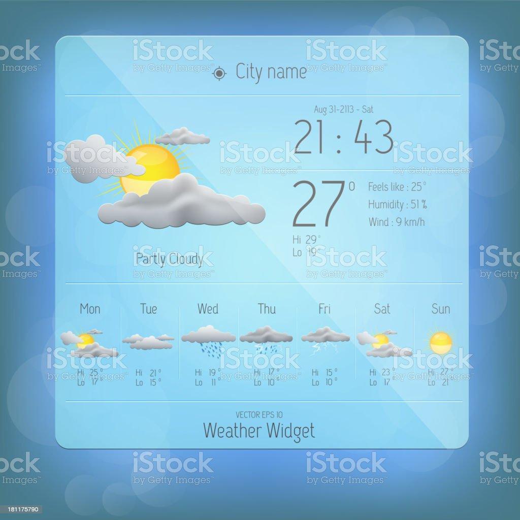 Weather widget template. Vector royalty-free stock vector art