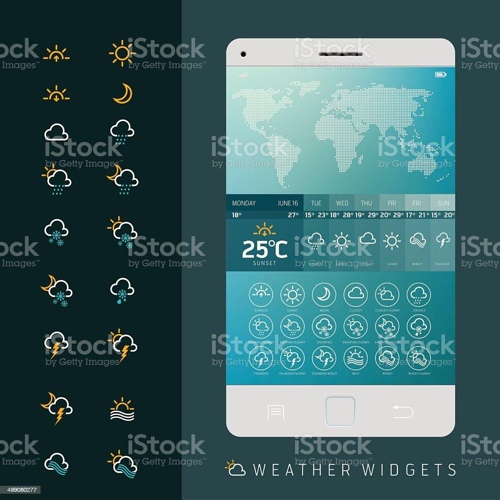 Weather widgets vector template vector art illustration