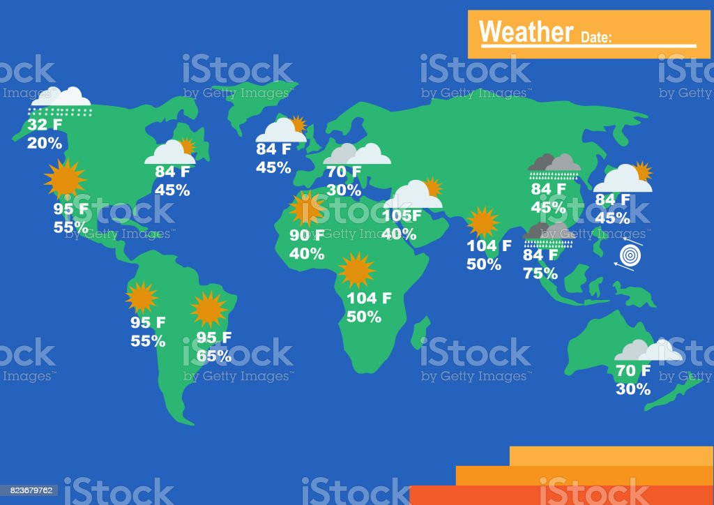 Weather World Map Forecast Report Temperature And Humidity Stock