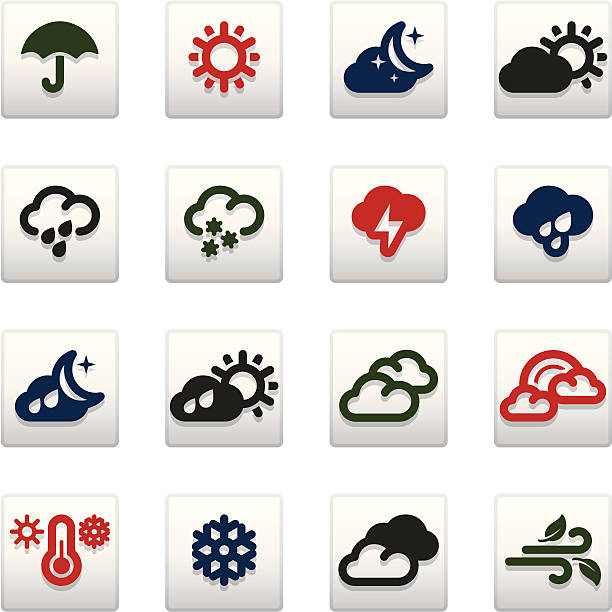 Weather_Vividy series_1 Set of 16 professional weather icons for web applications, web presentation and more. File includes: vector EPS, PNG, JPG. forked lightning stock illustrations