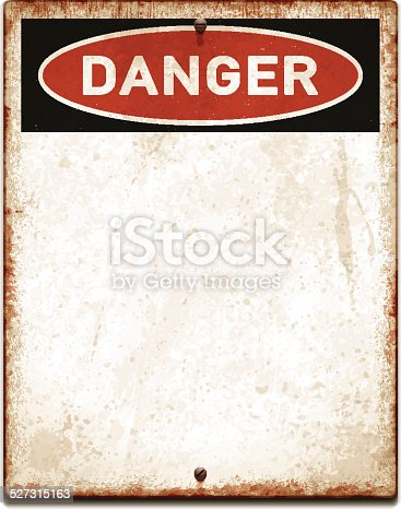 Vintage metal sign with copy space. Grunge square placard with rusty stains, two screws and red and black banner reading DANGER. Photorealistic vector illustration isolated on white. Layered EPS10 file with transparencies and global colors. Individual elements and textures. Related images linked below./file_thumbview/54135640/1