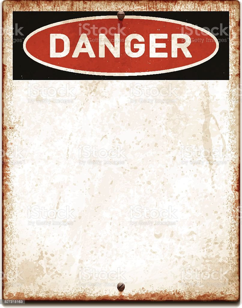 Weathered blank placard with danger text and screws_vector vector art illustration