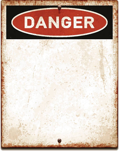 Weathered blank placard with danger text and screws_vector Vintage metal sign with copy space. Grunge square placard with rusty stains, two screws and red and black banner reading DANGER. Photorealistic vector illustration isolated on white. Layered EPS10 file with transparencies and global colors. Individual elements and textures. Related images linked below./file_thumbview/54135640/1 rusty stock illustrations