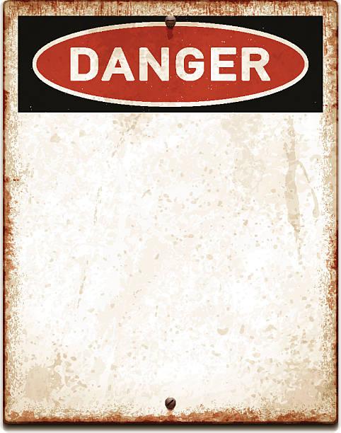 stockillustraties, clipart, cartoons en iconen met weathered blank placard with danger text and screws_vector - roestig