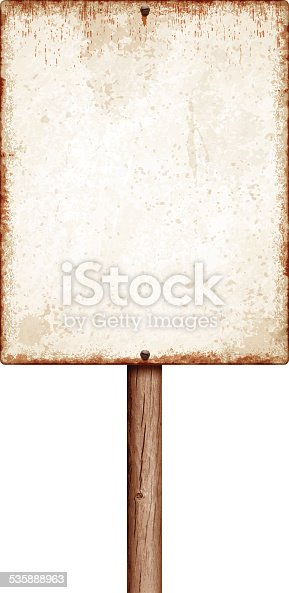 Blank sepia metal sign with copy space isolated on white. Rusty stains, two screws and long wooden post. Photorealistic vector illustration. Layered EPS10 file with transparencies and global colors. Individual elements and textures. Related images linked below.