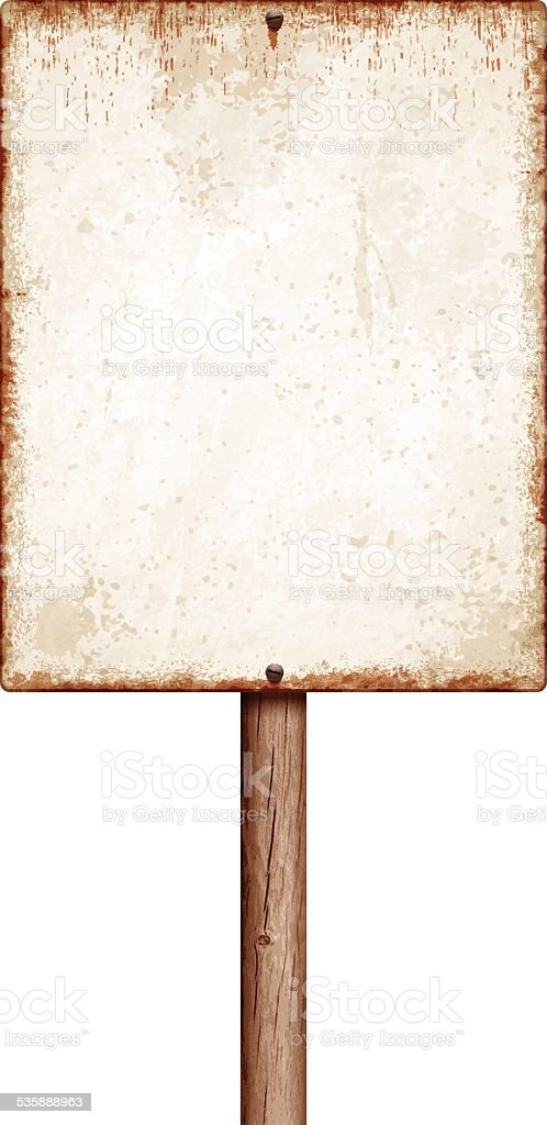 Weathered blank placard with wooden post isolated on white vector art illustration