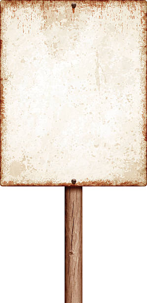 stockillustraties, clipart, cartoons en iconen met weathered blank placard with wooden post isolated on white - roestig