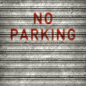 Rusty metallic rolling garage door with red text reading NO PARKING. Photorealistic vector illustration. Individual elements and textures. Layered EPS10 file with transparencies and global colors. Hi-res JPG included. Related images linked below.