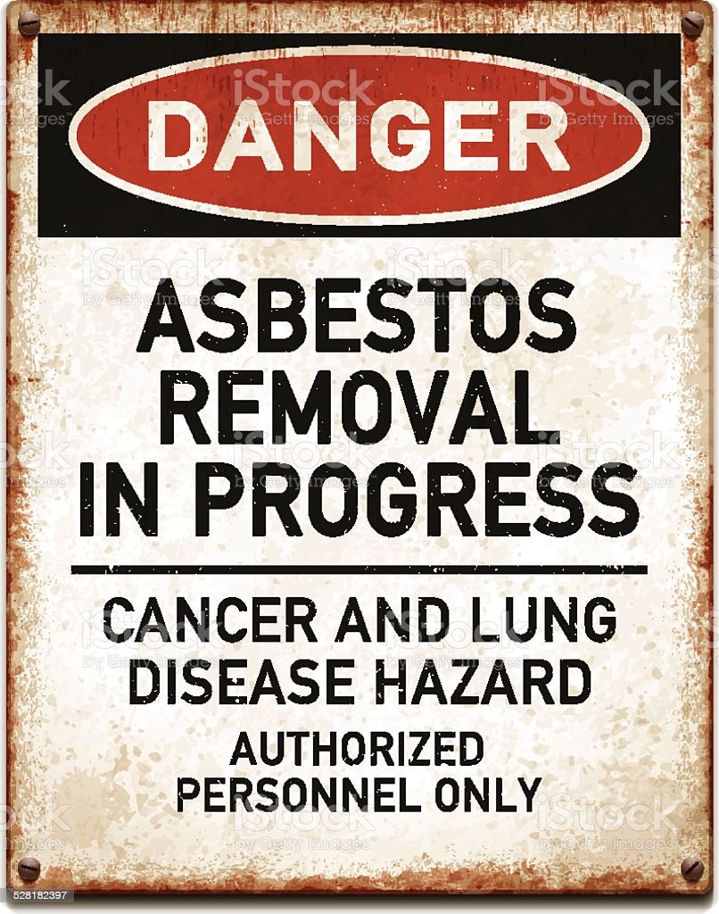 Weathered metallic placard with danger asbestos removal warning_vector vector art illustration