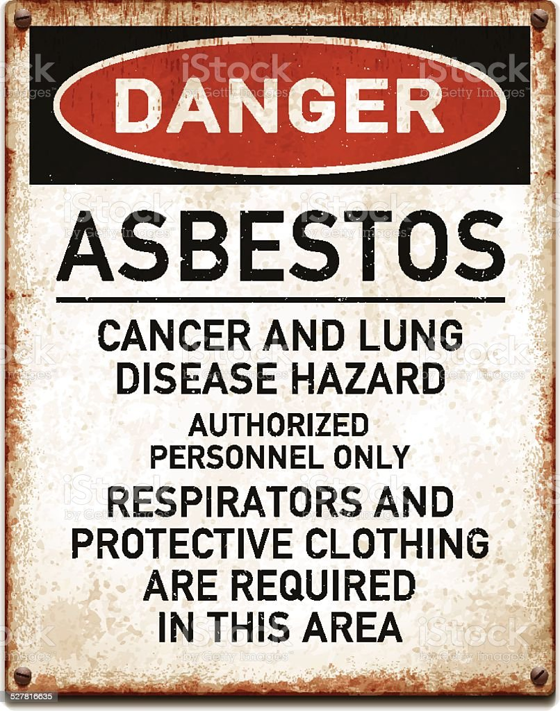 Weathered metallic placard with danger asbestos warning_vector vector art illustration