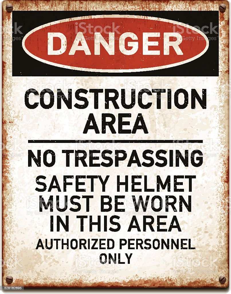 Weathered metallic placard with danger construction area warning_vector vector art illustration