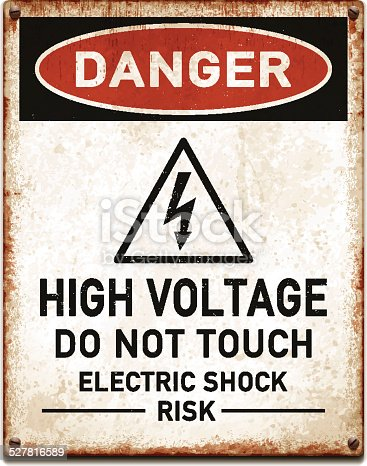Vintage metal danger sign with high voltage warning. Grunge square placard with rusty stains, four screws and red and black banner reading DANGER. Photorealistic vector illustration isolated on white. Layered EPS10 file with transparencies and global colors. Individual elements and textures. Related images linked below.