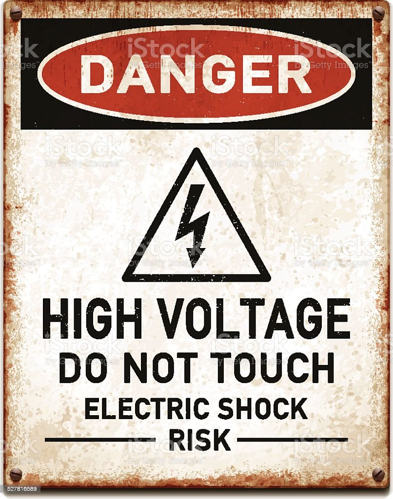 Weathered metallic placard with danger high voltage warning_vector vector art illustration