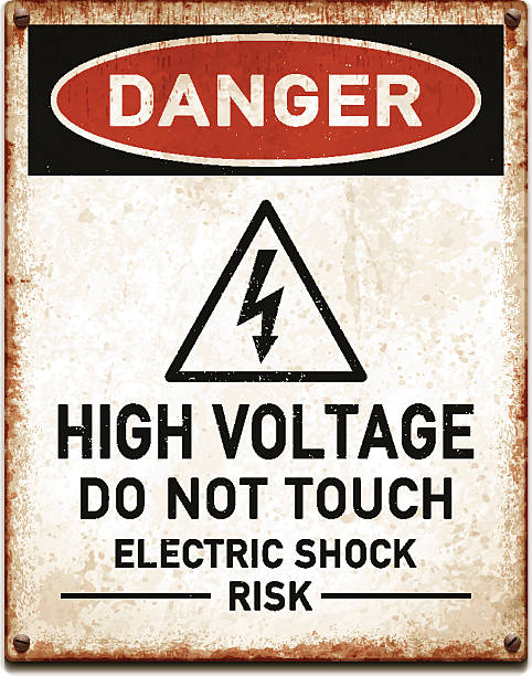Weathered metallic placard with danger high voltage warning_vector Vintage metal danger sign with high voltage warning. Grunge square placard with rusty stains, four screws and red and black banner reading DANGER. Photorealistic vector illustration isolated on white. Layered EPS10 file with transparencies and global colors. Individual elements and textures. Related images linked below. high voltage sign stock illustrations